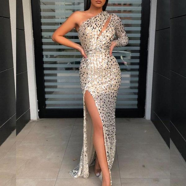 Sexy Asymmetry One Shoulder Side Slit Evening Dress