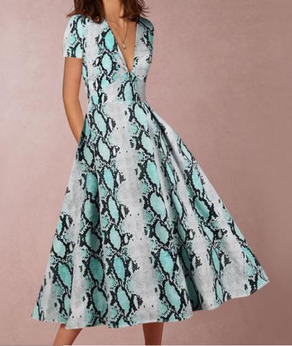 Sleeveless V-Collar Print Skater Dress