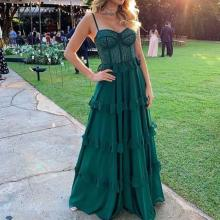 Sexy Strapless Pure Color Ruffled Maxi Dress