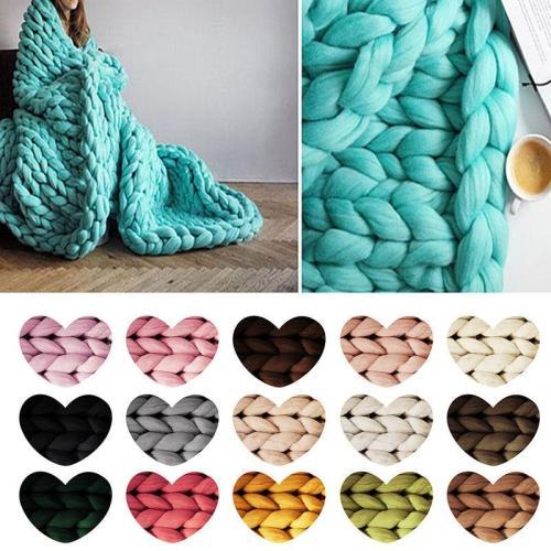 Super Thick Natural Wool Chunky Yarn Felt Wool Roving Yarn DIY Roving Knit Blanket Hand Knitting Spin Yarn DIY Blanket Supplies