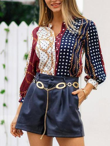 Vintage chain polka dot print shirt