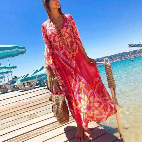 Casual Bohemian Deep V-Neck Floral Print Loose Vacation Maxi Dress