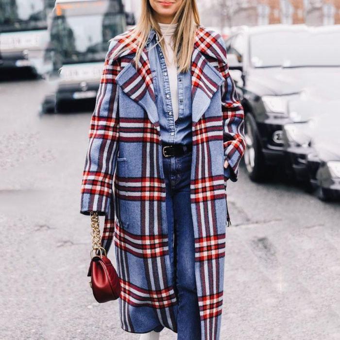 Fashion Lapel Collar Winter Loose Check Long Coat