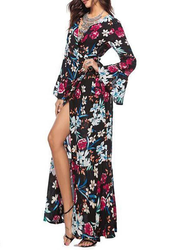 Sexy V-Neck Printed Long Sleeved Maxi Dress