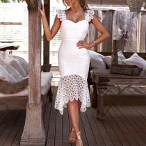 Fashion Crochet Bare Back Sleeveless Bodycon Dress