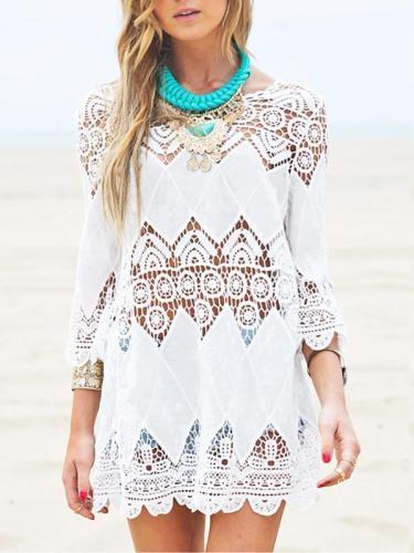 White Hollow Crochetgo Bikini Cover-Ups