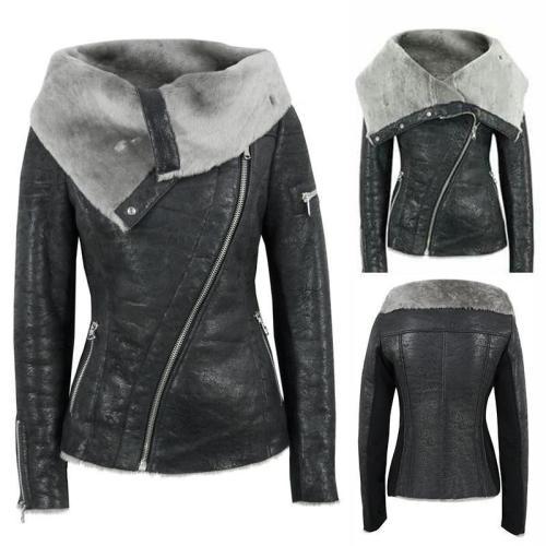 Lapel Faux Fur Oblique Zipper Women Slim Motorcycle Short PU Jacket