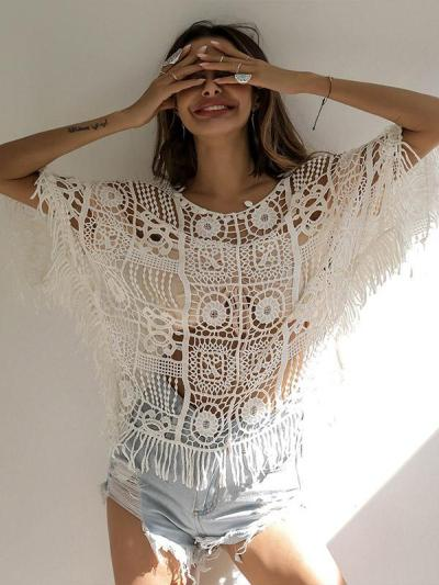 Hollow Batwing Sleeve Round Neck Cover Ups