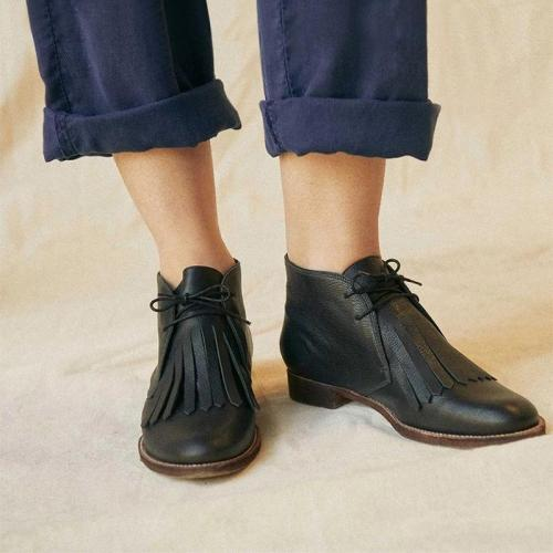 Casual Solid Color Tassel Lace Up Women's Boots