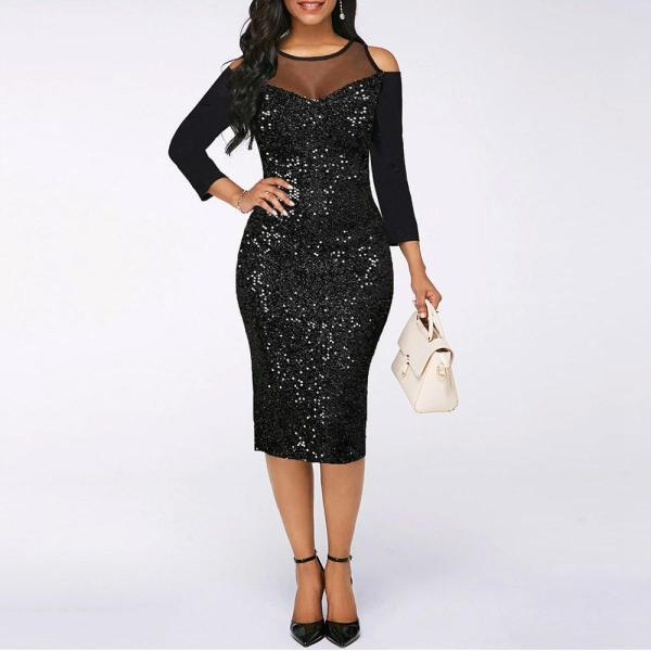 Mesh Stitching Sequin Strapless Dress