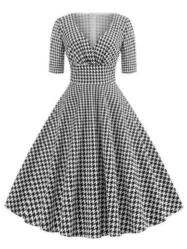 EBUYTIDE Women's Glamorous Short Sleeve Vintage Dress