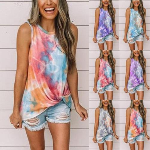Women Tie Dye Printed Fashion Casual Knotted Short Sleeve  Vest T-shirt Top