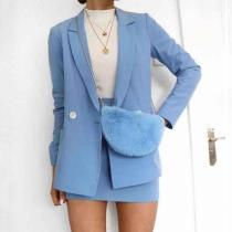 Fashion Flip Collar Long Sleeve Decorative Buckle Suits