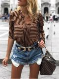 Long Sleeve Striped Blouses
