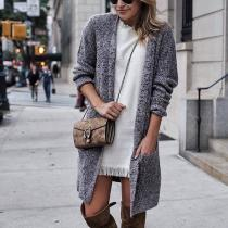 Pure Color Long   Cardigan Jacket In A Sweater