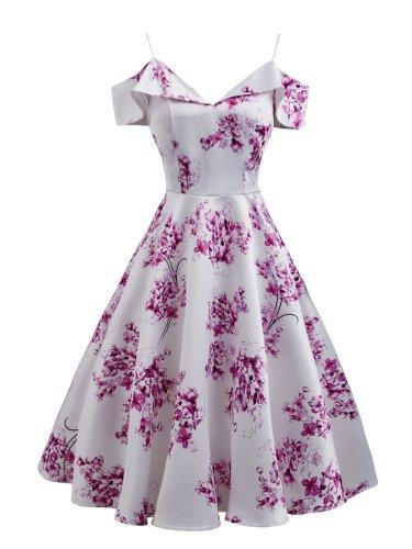Pink 1950s Floral Cold Shoulder Dress