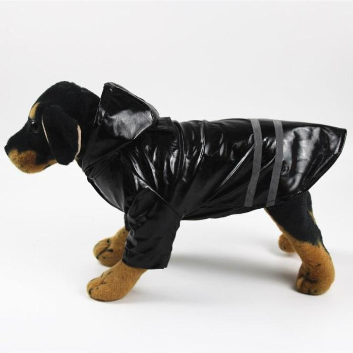 Pet Dog Puppy Reflective Striped Waterproof Hooded Raincoat PU Leather Lightweight Jackets Windproof Clothes