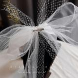 Japan Style Short Wedding Veil With Bow Lace Tulle Beaded Women Bridal Veil 2020