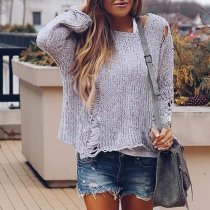 Fashion Ripped Hollow Long Sleeve Sweater