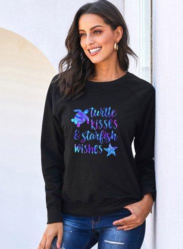 Casual Round Neck Turtle Sweatshirt