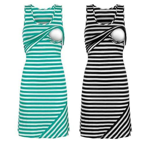 Summer Dress Pregnant Women Casual Breastfeeding Nursing Dress Sleeveless Loose Striped Pregnancy Maternity Long Dresses