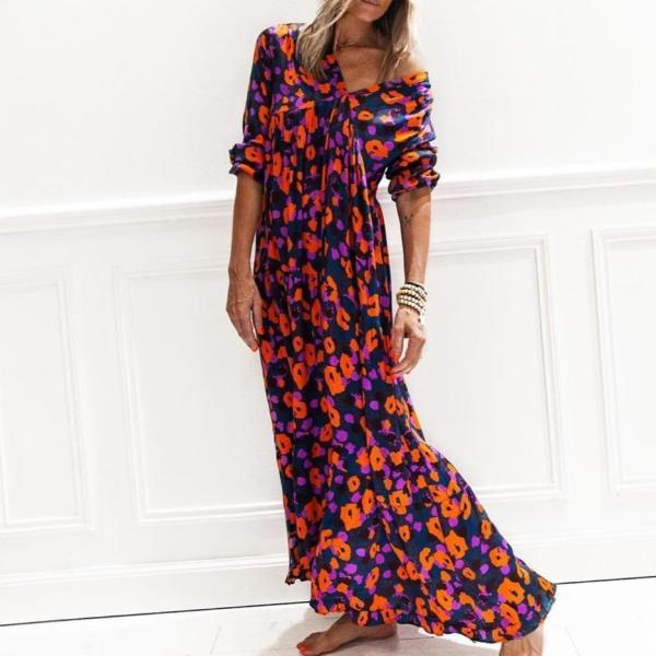 Fashion Vintage Printed V-Neck Long Sleeve Loose Vacation Dress