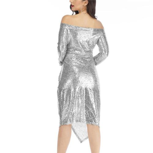 Fashion Paillette One Shoulder Long Sleeve Slit Bodycon Dress