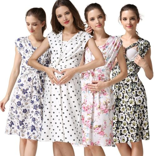 2020 maternity dresses Summer Women's Pregnancy Sleeveless Floral Print Breastfeeding Dresses For Pregnant Nursing Sundress