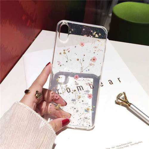 Real Pressed Dried Flowers Transparent Silicone Phone Case
