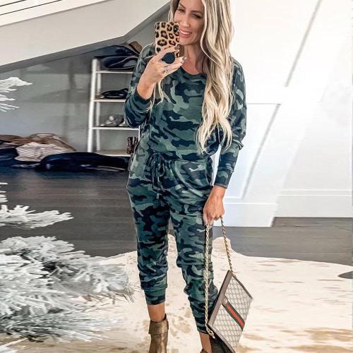 EBUYTIDE Cozy Camouflage Print Long Sleeve Jumpsuit