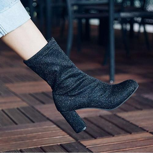 Pointed Toe  New Trend High Chunky Heel Half Boots US 5 | EU 35 | UK 3 | CN 34-US 10.5 | EU 41 1/3 | UK 7.5 | CN 43