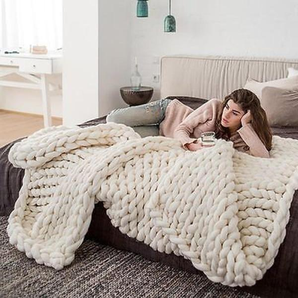 Fashion Hand Chunky Knitted Blanket Thick Yarn Wool-like Polyester Bulky Knitted Blankets Winter Soft Warm Throw Drop Shipping