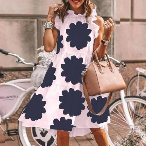 Cute Print Sleeveless Pink Mini Dress