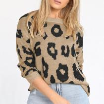 Casual Leopard Print Long Sleeve Loose Round Neck Sweater