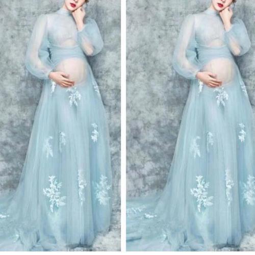 Maternity Elegant Lace Long Sleeve Photoshoot Dress