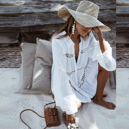 Shirt Type Trumpet Sleeve Beach Blouse Sun Protection Dress