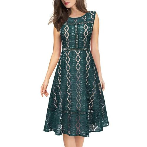 EBUYTIDE Womens 3/4 Sleeves Lace Patchwork Illusion Hem Cocktail Casual Party Fit and Flare Skater A-Line Midi Mid-Calf Dress