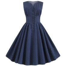 White Polka Dot Dress Women Summer Vintage 50S 60S Pin Up Sleeveless Button A-Line Party Rockabilly Dresses Knee-Length Robe