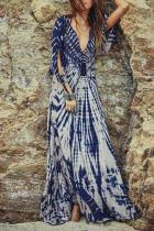 Deep V Neck  Bust Darts Contrast Stitching  Abstract Print  Half Sleeve Maxi Dresses