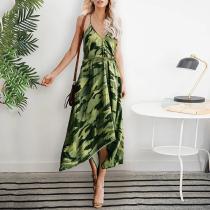 Sexy Sleeveless Bare Back Camouflage Pattern Dress