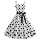 Women Polka Dot Vintage Dress Summer 2020 Big Swing Retro Robe Prom Rockabilly Party Dress Sexy Halter Pinup Vestidos