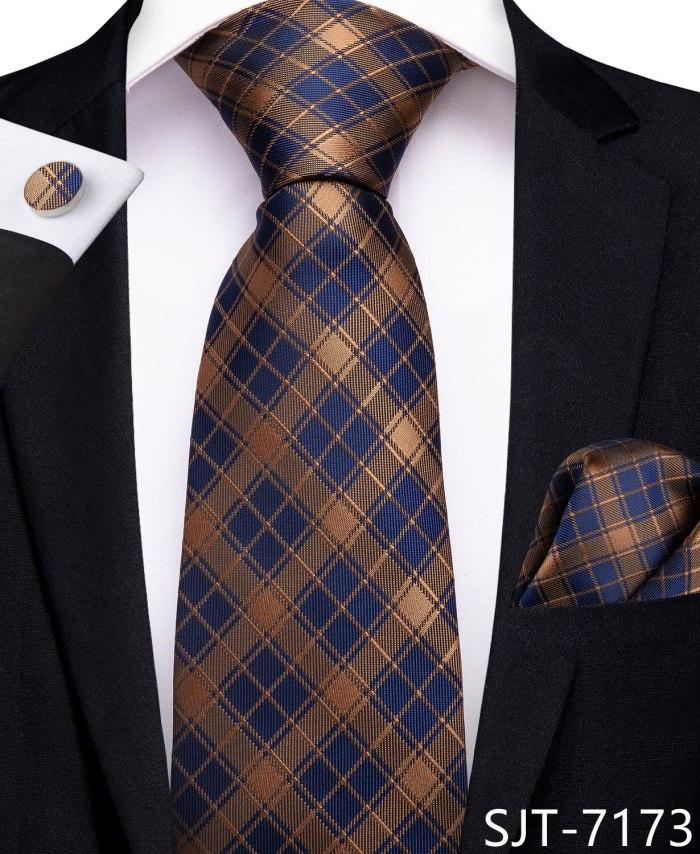 2020 EBUYTIDE Designer Tie for Men Red Brown Plaid Men's Tie Business Wedding Party Tie Set 100% Silk Necktie Hanky Cufflink Ties