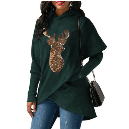 Christmas Fashion Irregular Single Button Knit Hoodie