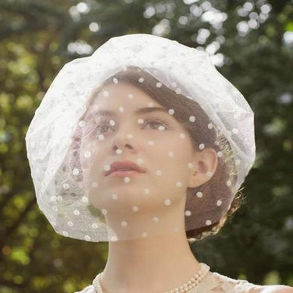 Vintage Retro Dotted Net Women's Bridal Hats and Fascinators with Comb Bridal hair Bow Accessories 2020