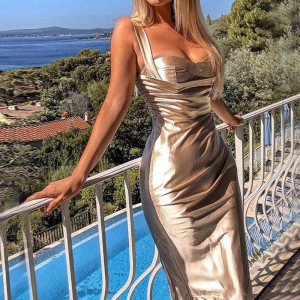 Metallic Sweetheart Collar Midi Evening Dress