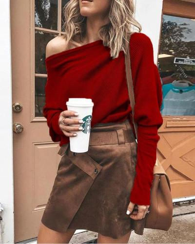 One Shoulder Long Sleeve Knitted Top