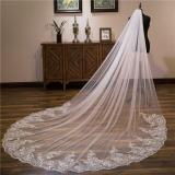 4 Meters White Ivory Cathedral Wedding Veils Long Tulle Lace Edge Bridal Veil with Comb One Layer Wedding Accessories