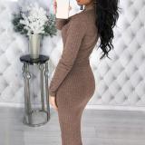 Stylish Long Sleeve Sexy Deep V Studded Button Dress