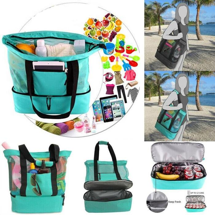 Outdoor Beach Tote Bag Zipper With Insulated Picnic Bag Travel Camping Large Capacity