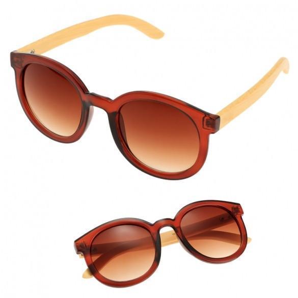Unisex Retro Style Round Plastic Frame Bamboo Legs Eyewear Sunglasses